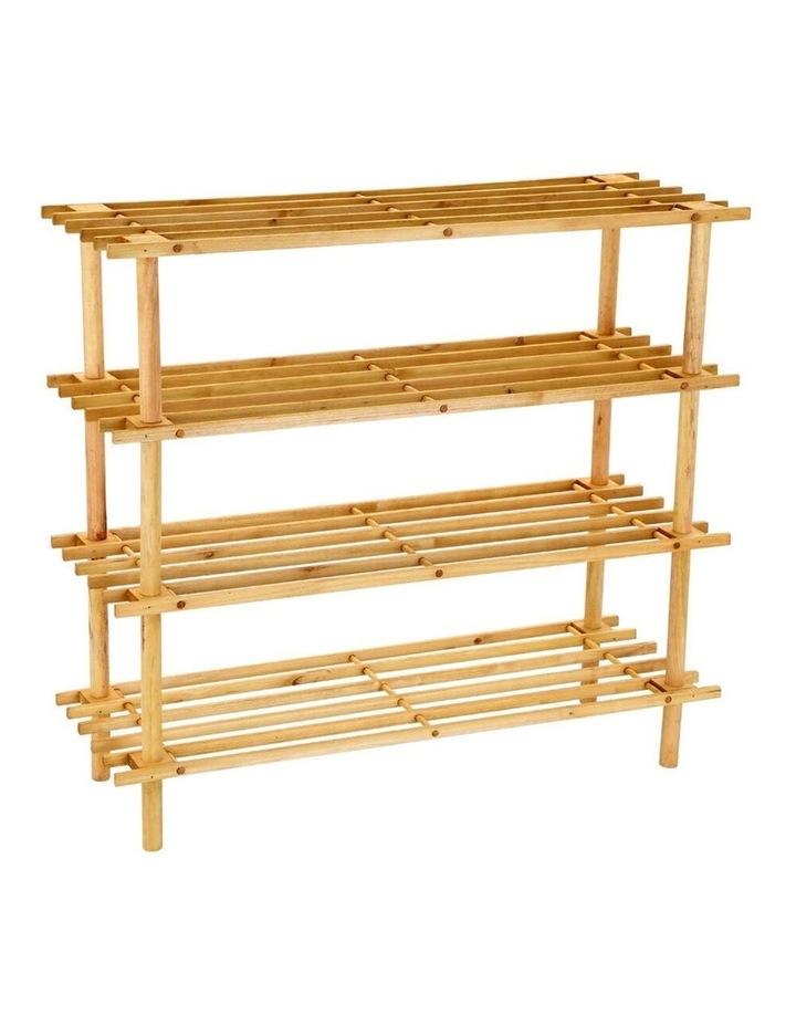 Tier 74cm Wooden Shoe Rack Wood Storage Home Organiser Stand Brown image 1