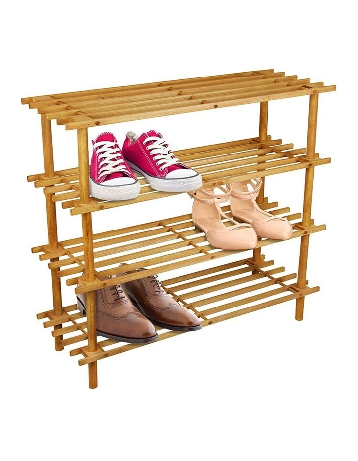 Tier 74cm Wooden Shoe Rack Wood Storage Home Organiser Stand Brown image 2