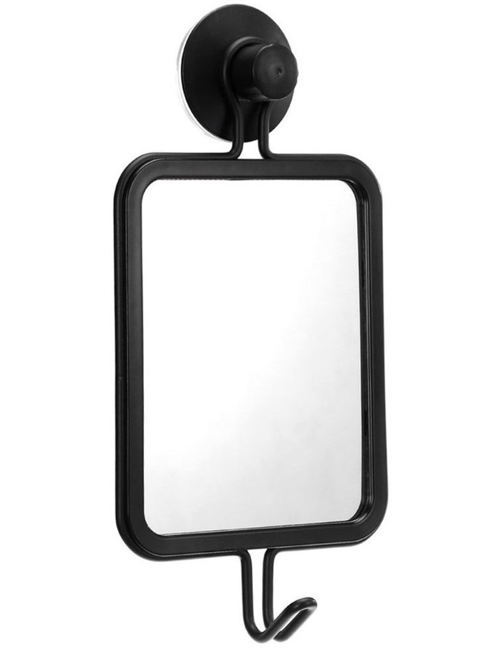 25 x 12.5cm Suction Wall Hanging Mirror w/ Hook Home Decoration Black image 1