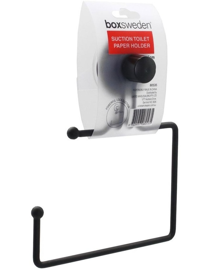 Wall Mount Bathroom Wire Suction Cup Toilet Paper Roll Holder Black image 2