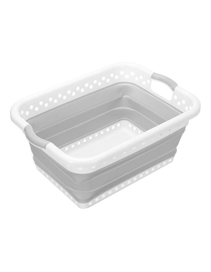 45L Collapsibe Laundry Basket Clothes Hamper/Storage Organiser Grey image 1