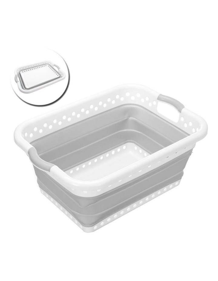 45L Collapsibe Laundry Basket Clothes Hamper/Storage Organiser Grey image 2