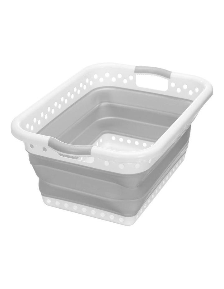 45L Collapsibe Laundry Basket Clothes Hamper/Storage Organiser Grey image 4