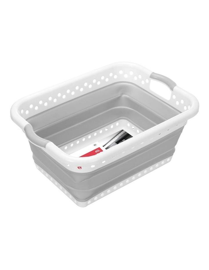 45L Collapsibe Laundry Basket Clothes Hamper/Storage Organiser Grey image 5
