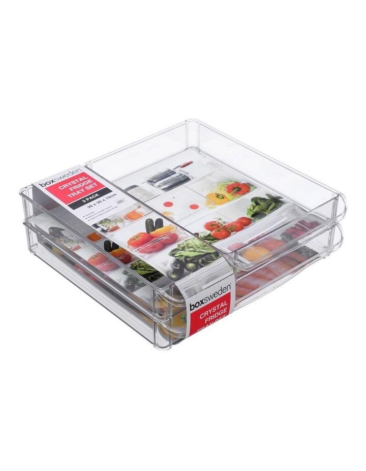 3PK 30x30cm Crystal Fridge/Pantry Kitchen Food BPA Free Tray Clear image 1