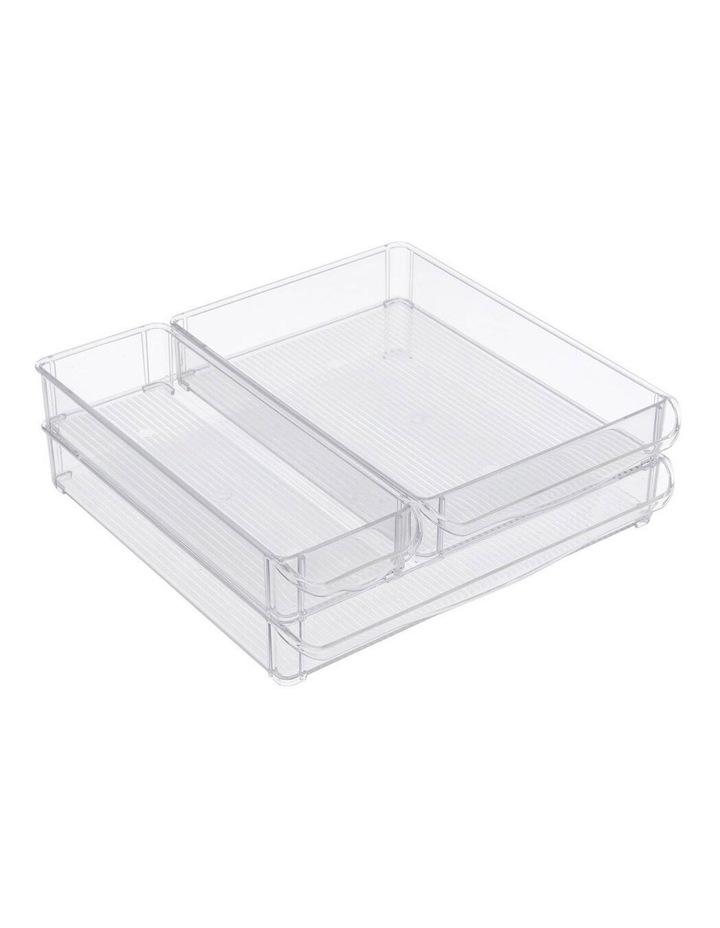 3PK 30x30cm Crystal Fridge/Pantry Kitchen Food BPA Free Tray Clear image 2