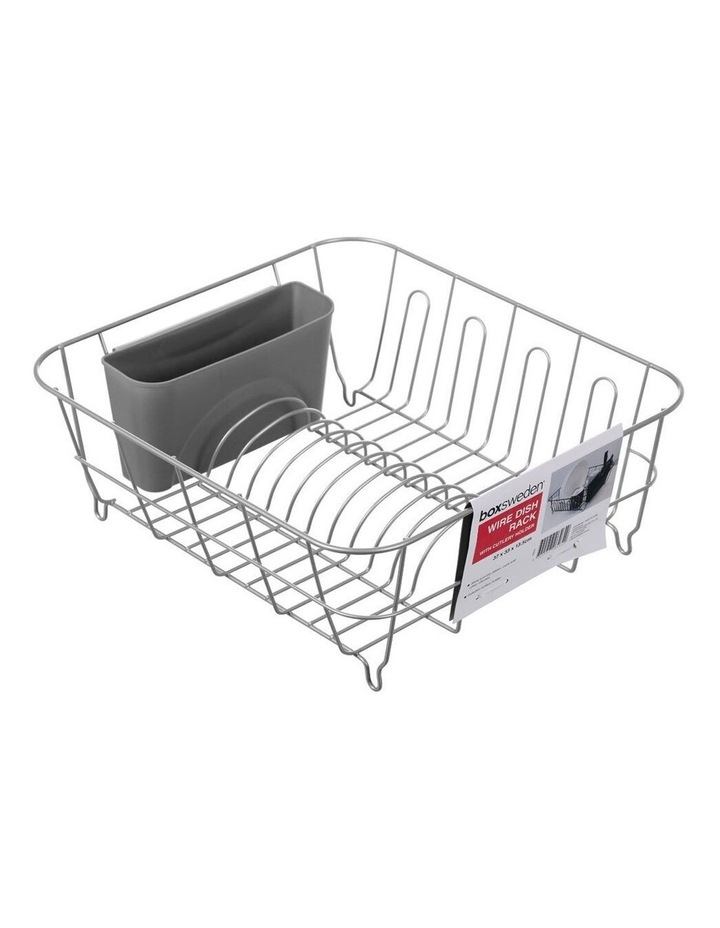 Wire 37cm x 33cm Dish Drying Rack w/ Cutlery/Utensil Holder Assorted image 2