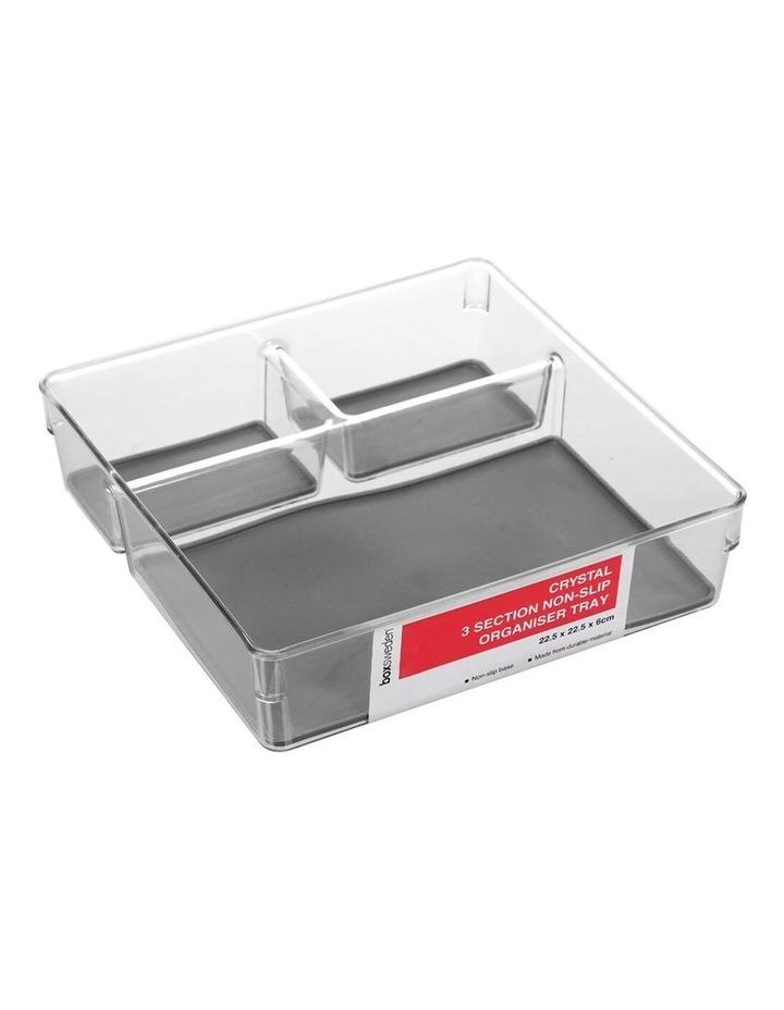 22.5x6cm Crystal 3 Section Square Non-Slip Organiser/Holder Grey image 1