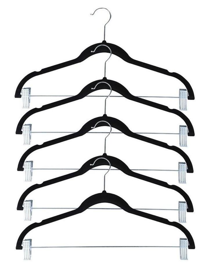 5pc Velvet Clothes/Pants/Trousers Hanging Hanger w/ Chrome Bar/Clips image 1