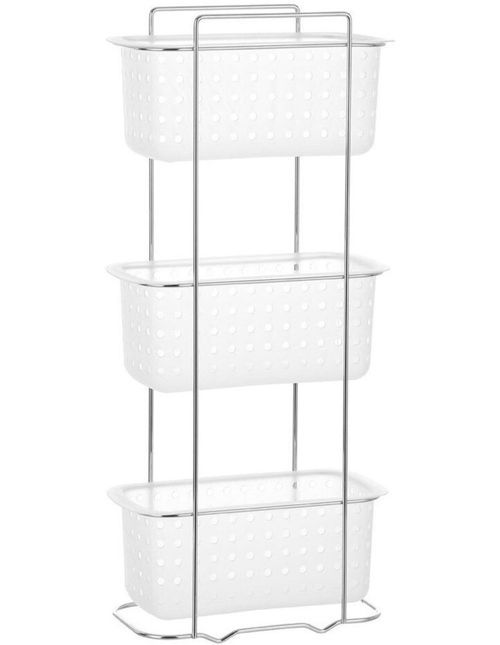 3 Tier Bathroom Rack Standing Storage Organiser Stand Frosted Clear image 1