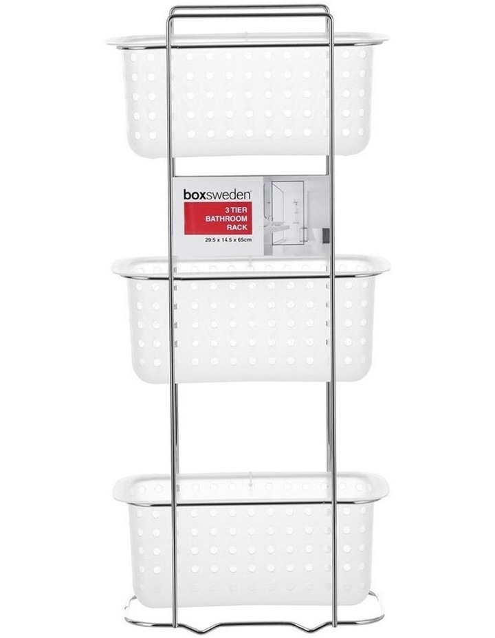 3 Tier Bathroom Rack Standing Storage Organiser Stand Frosted Clear image 2