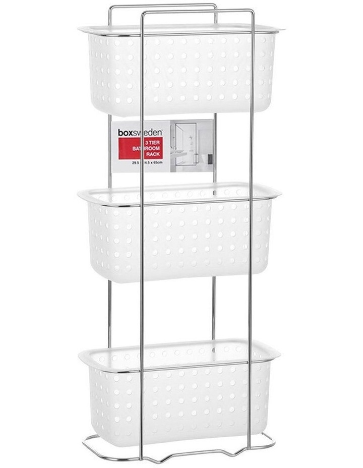 3 Tier Bathroom Rack Standing Storage Organiser Stand Frosted Clear image 3