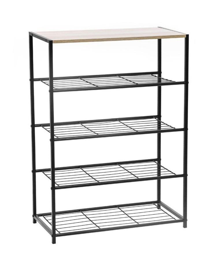 85cm Metal Frame Display 5 Tier Shelf Rack Organiser w/ Wood Top BRN image 1