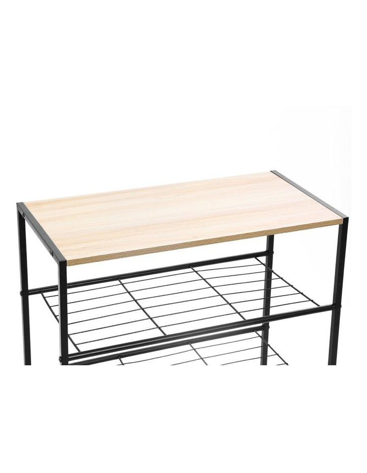 85cm Metal Frame Display 5 Tier Shelf Rack Organiser w/ Wood Top BRN image 2