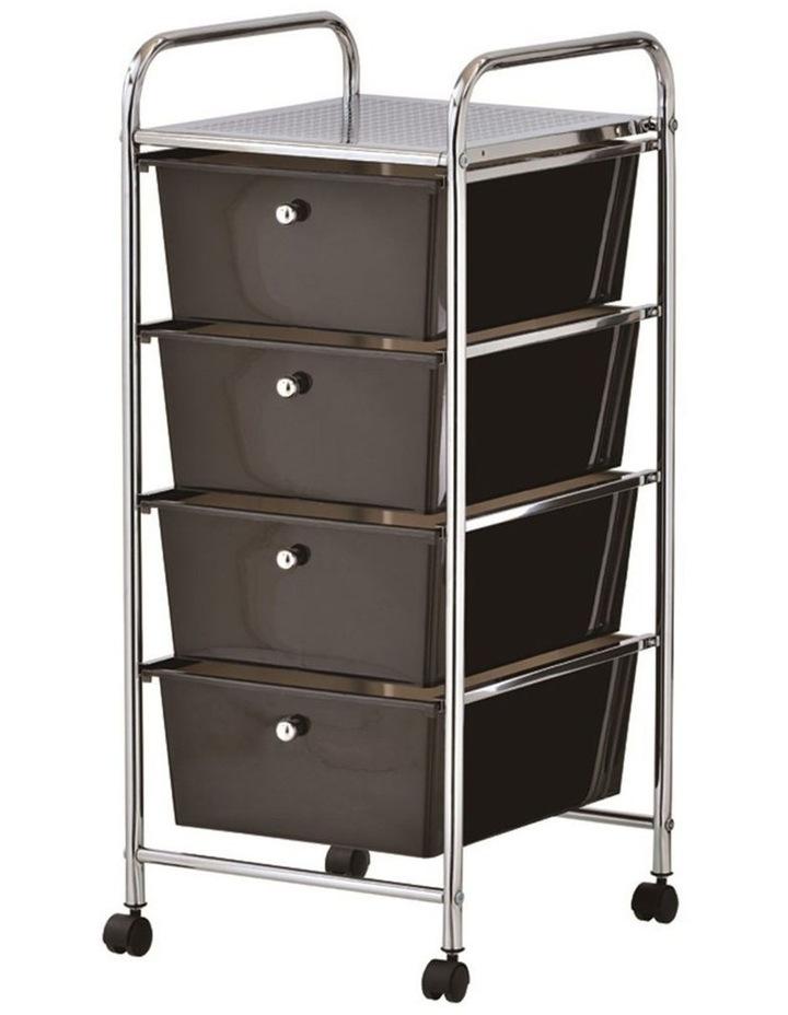 Home/Office Organiser 4 Drawers Storage Metal Trolley w/Wheels Black image 1