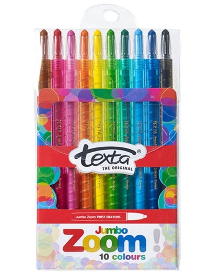 10pc  The Original Jmbo Zoom Kids Non Toxic Twist Colouring Crayons Wallet image 1