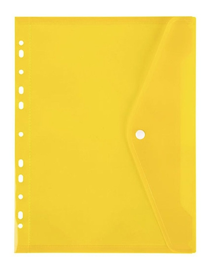 A4 Binder Wallet Pocket with Button Closure for 2/3/4 Ring Binder Yellow image 1