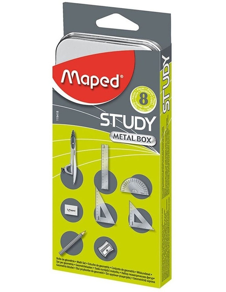 8pc Mathematical Instruments Study Set School Ruler/Pencil w/ Metal Box image 1