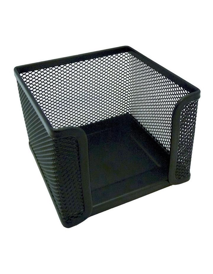 Home/Work Metal Mesh Memo/Notes Cube Holder Stationery Desk Organiser BK image 1