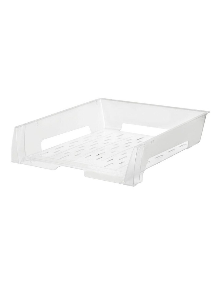 A4 Document Tray Organiser Storage Holder Desk Stationery Rack Clear image 1