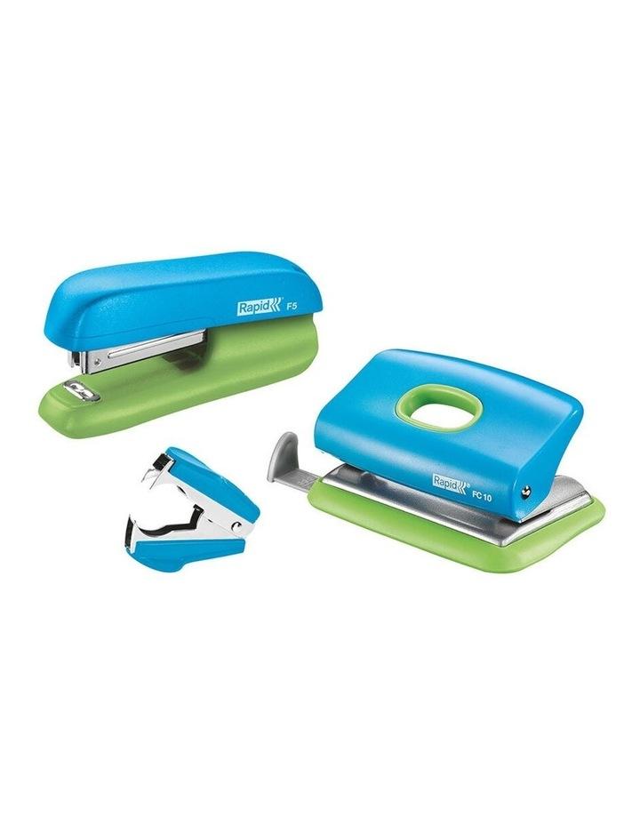 F5 Home/Office Mini Set w/Stapler/Staples/Staple Remover/Punch Hole Blue image 1
