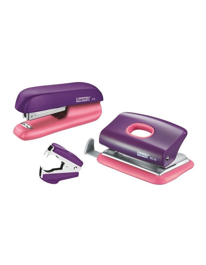 F5 Home/Office Mini Set w/Stapler/Staples/Staple Remover/Punch Hole Purple image 1