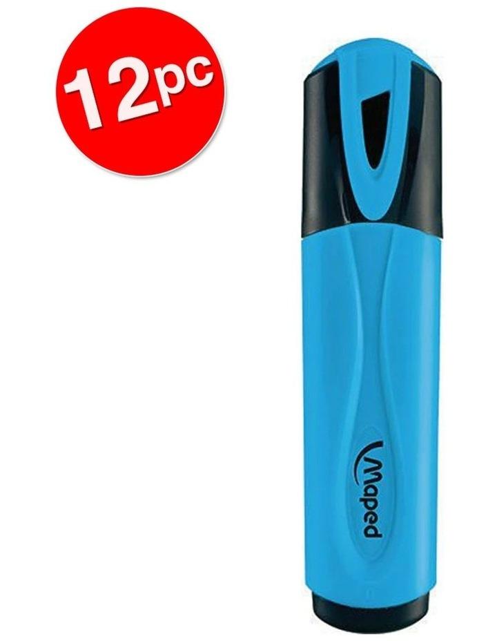12 Pack Fluo Neon Highlighter 1-4mm Chisel Nib Inkjet Safe Marker Blue image 2