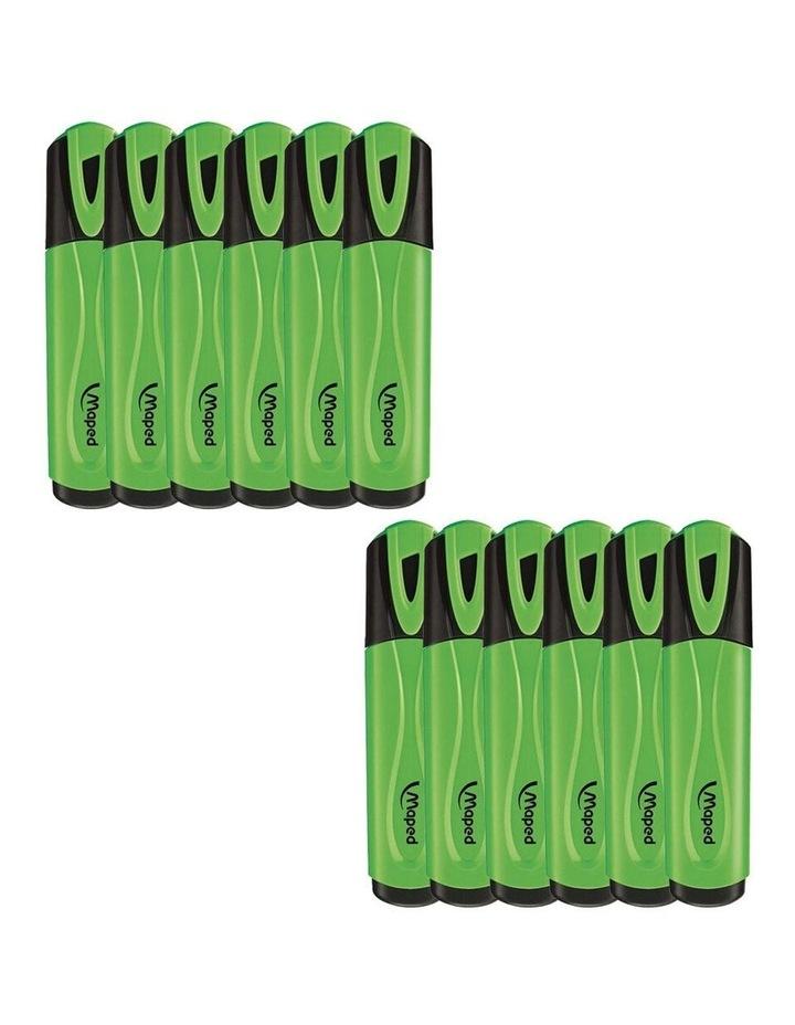 12 Pack Fluo Neon Highlighter 1-4mm Chisel Nib Inkjet Safe Marker Green image 1