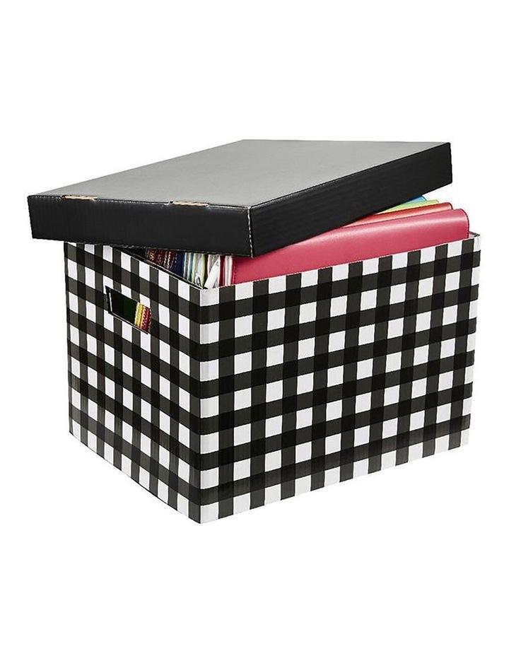 41cm Patterned Stackable Archive Box Dcoument Storage/Organiser BLK/WHT image 1