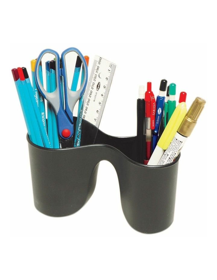 Enviro Duo Double Pencil Cup Pen Holder/Storage for School/Office Black image 1