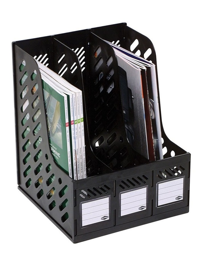Magazine/Papers/Documents 3 Section Rack/Organiser Home/Office Black image 1