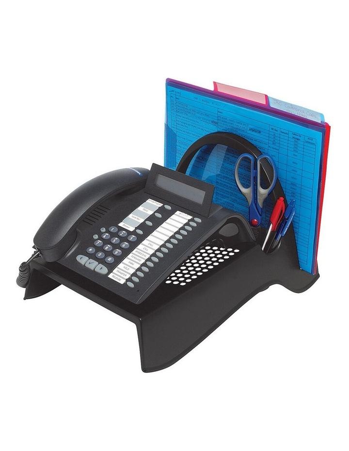 Telephone Stand/Riser w/Paper/Stationery Caddy/Holder Desk Organiser BLK image 1