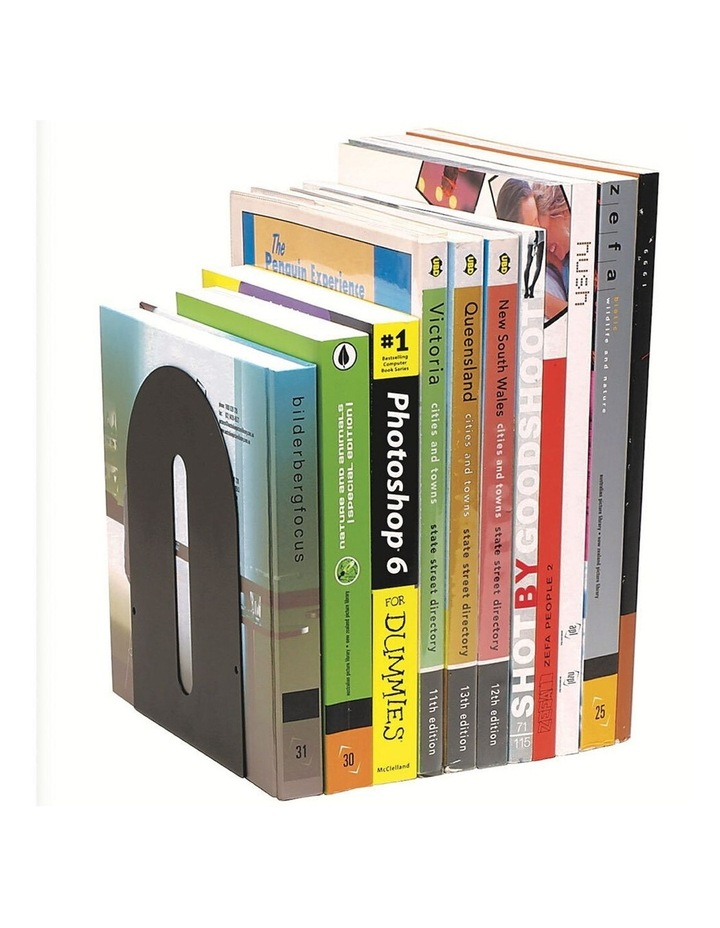 2 Pack Rounded Book Ends Holder Heavy Duty Metal For Shelves/Shelf Black image 1