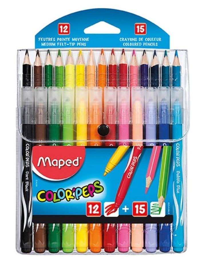 ColorPeps Kids Multi Pack with 12 Colour Pencils & 15 Felt Tip Pens image 1