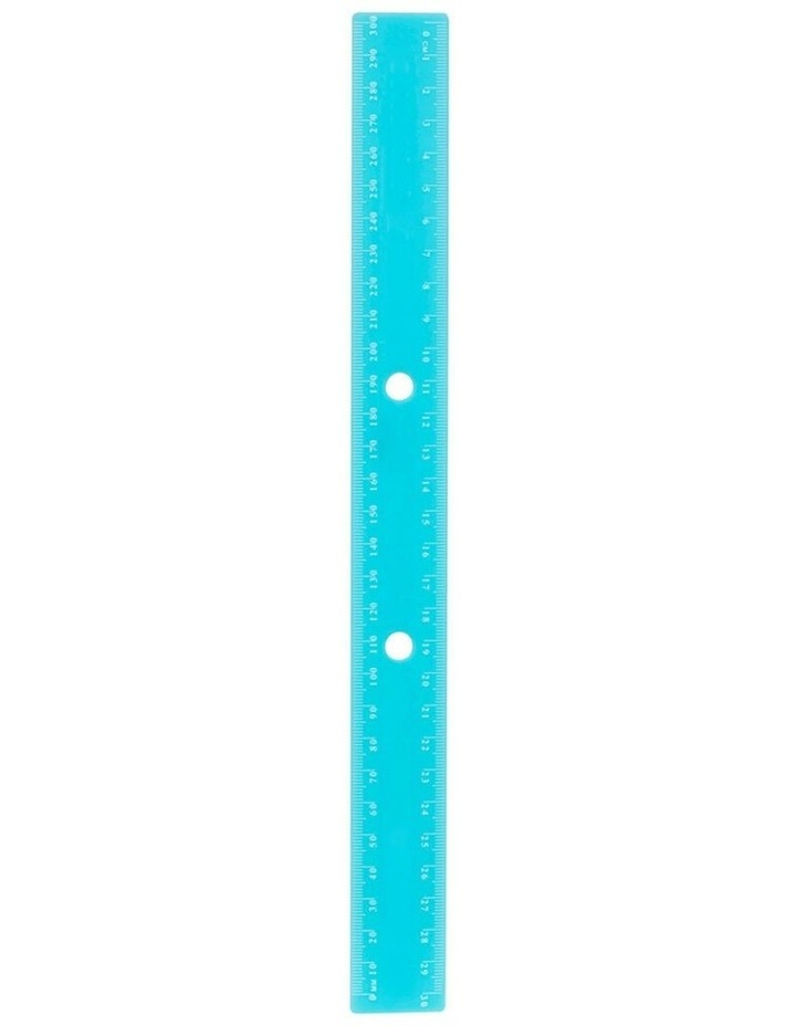 Bindermate 30cm Metric Plastic Ruler w/ Holes for File Binder Blue image 1