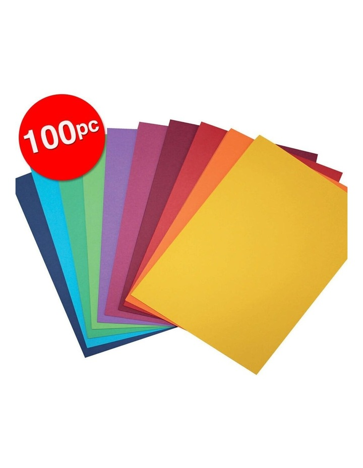 100 Pack A4 Colour Board 200gsm Paper Craft School Sheets Assorted image 2