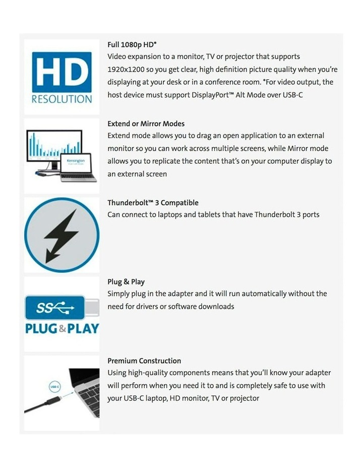 USB-C to VGA Full HD Video Adapter/1080p/Thunderbolt 3/Plug & Play image 5