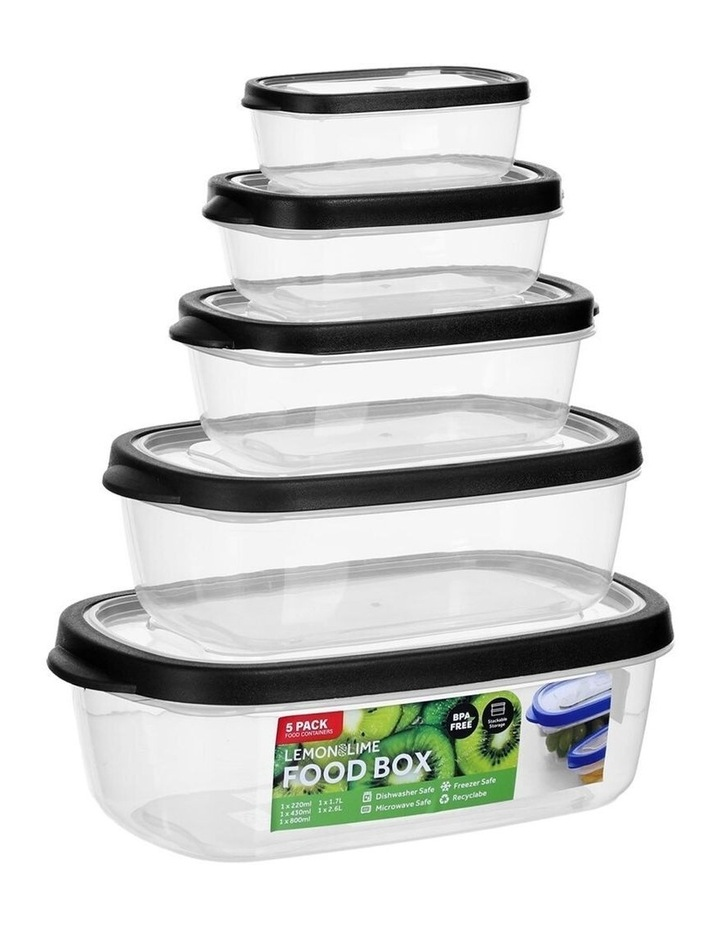 5PK 220/430/800ml/1.7/2.6L Food Box Storage Container Set Assorted image 1