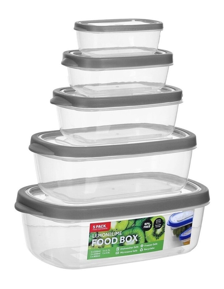 5PK 220/430/800ml/1.7/2.6L Food Box Storage Container Set Assorted image 2