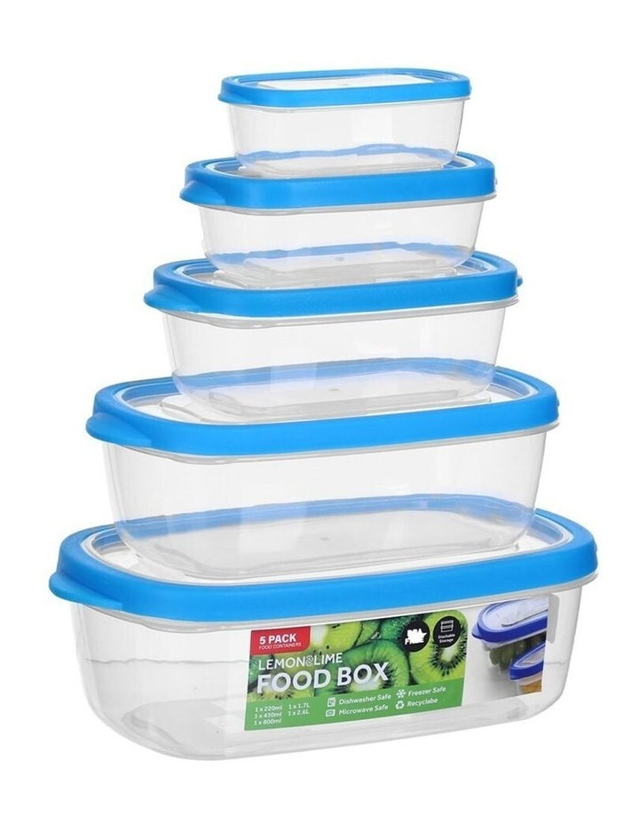 5PK 220/430/800ml/1.7/2.6L Food Box Storage Container Set Assorted image 3