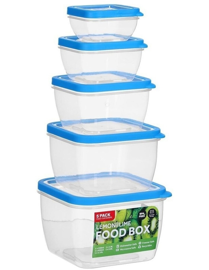 5PK 330/630ml/1.9/1.15/2.8L Food Box Storage Container Set Assorted image 3