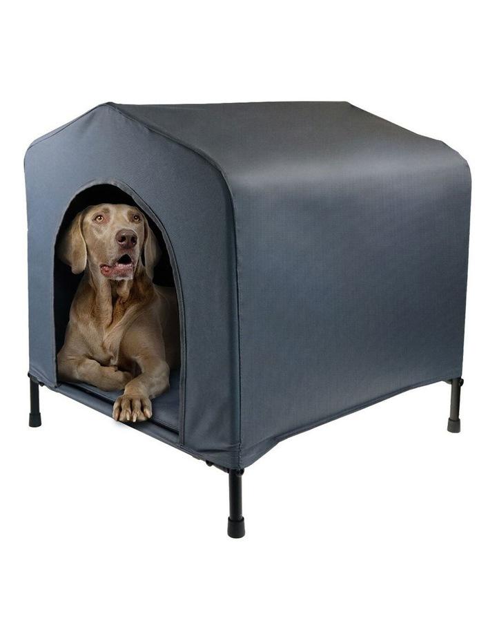 102x93cm Steel Frame Elevated Pet Large Dog House w/ Cushion Grey image 1