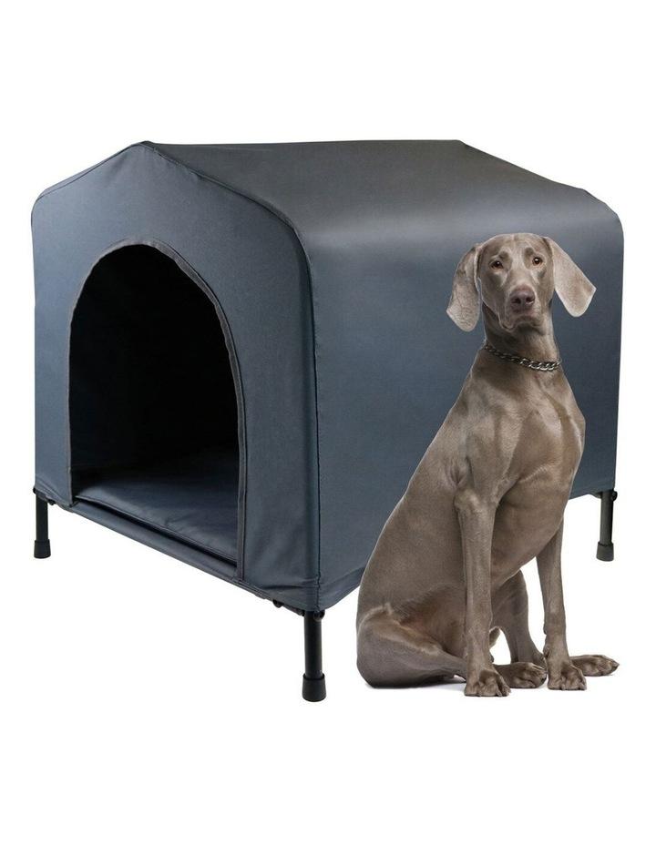 102x93cm Steel Frame Elevated Pet Large Dog House w/ Cushion Grey image 2