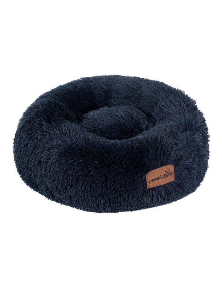 50cm x 50cm Small Calming Plush Pet/Dog Round Bed/Mattress Navy image 1