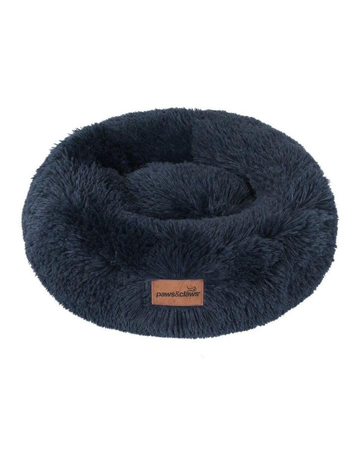 50cm x 50cm Small Calming Plush Pet/Dog Round Bed/Mattress Navy image 2