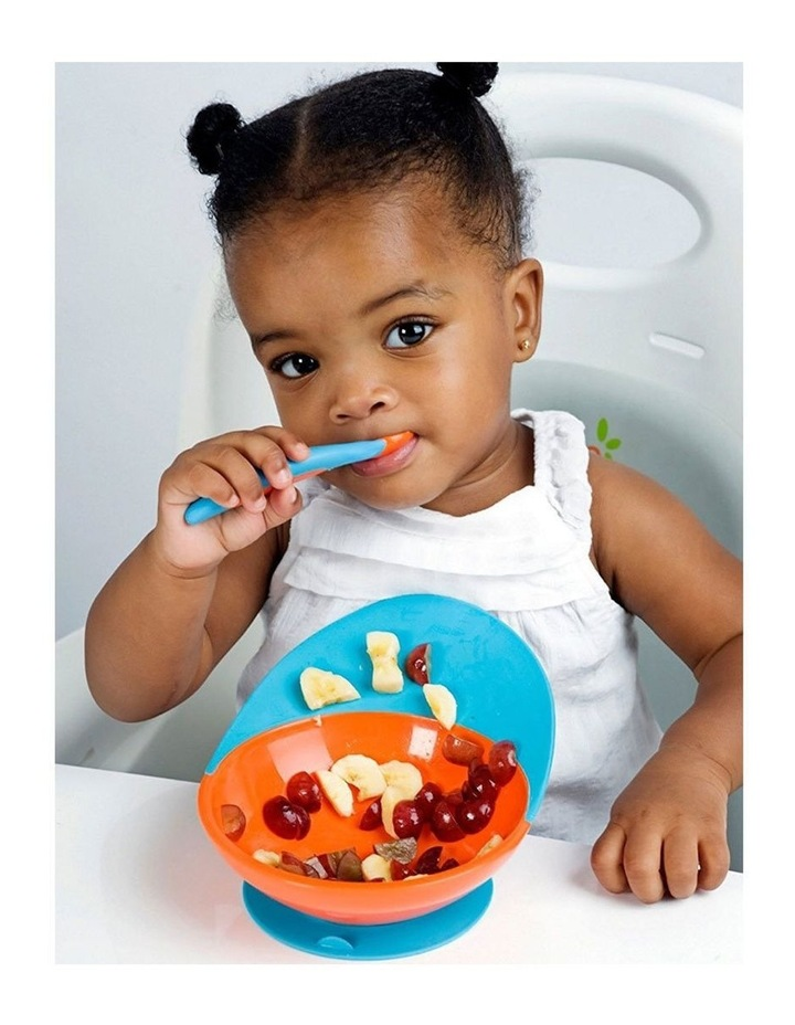 Blue/Orange Cath Bowl w/ Spill Cather for Baby/Toddler Food Mat/Table/Tray image 2