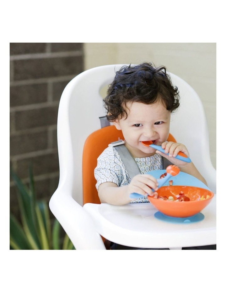 Blue/Orange Cath Bowl w/ Spill Cather for Baby/Toddler Food Mat/Table/Tray image 3