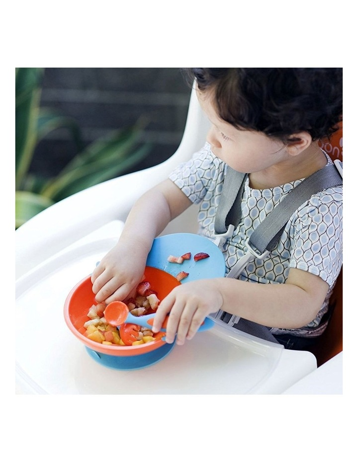 Blue/Orange Cath Bowl w/ Spill Cather for Baby/Toddler Food Mat/Table/Tray image 4