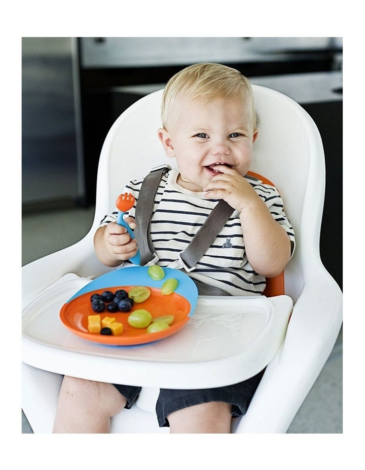 Blue/Orange Catch Plate w/ Spill Catcher for Baby/Toddler Food Mat/Table image 2