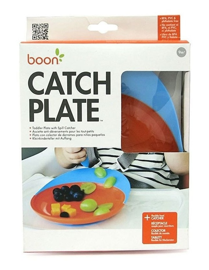 Blue/Orange Catch Plate w/ Spill Catcher for Baby/Toddler Food Mat/Table image 4